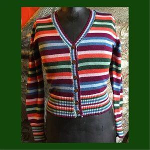 1970's Multi-colored striped cardigan sweater Sz M